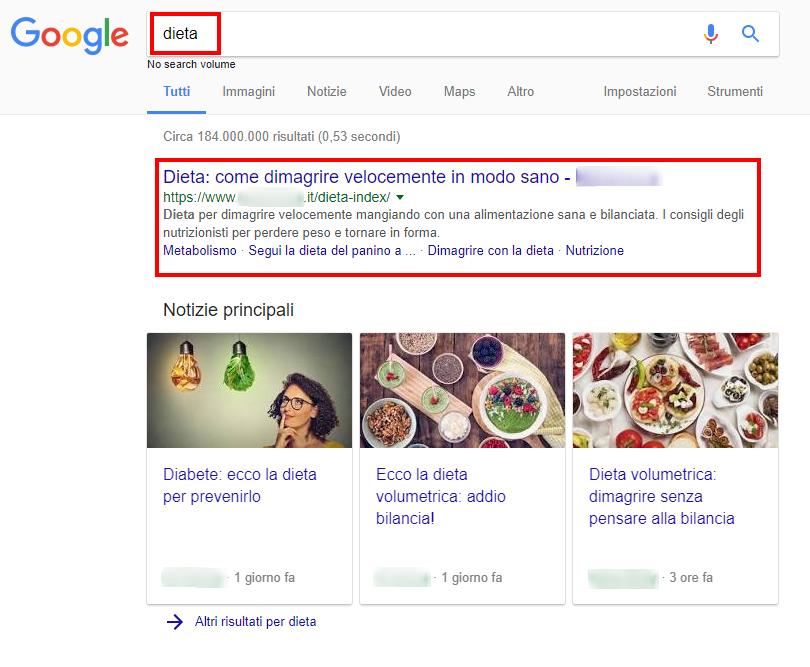 prima posizione nella serp di Google
